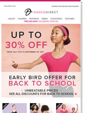 Back to School Early Bird offer - Up to 30% off