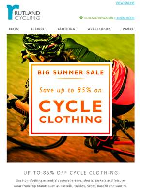 Save up to 85% on cycle clothing in our Big Summer Sale!