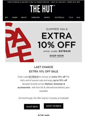 Last Chance | Extra 10% off SALE...