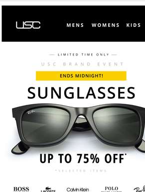 Last chance! Up to 75% OFF Sunglasses 'til midnight!