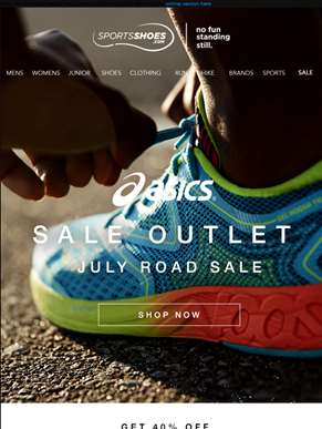 Sale Outlet | July Road Sale Continues… Get 40% Off Your Favourite Asics