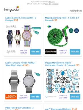 Deals for you: Sophie & Freda Watch £59 | Magic Expanding Hose £12 | Ladies' Emporio Armani Watch £1