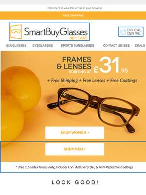 Need new glasses? Try 50% Off & Free Shipping on our Smartbuy Collection ??
