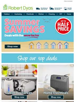 ? New summer savings: Up to ½ price