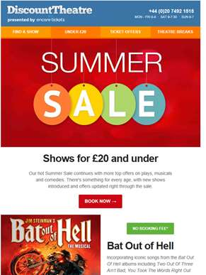 Shows for £20 and under in our sizzling summer sale