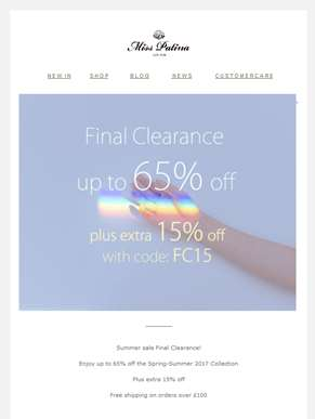 Final Clearance| Extra 15% off For You!