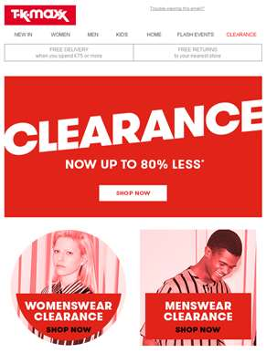 Clearance: Now up to 80% less