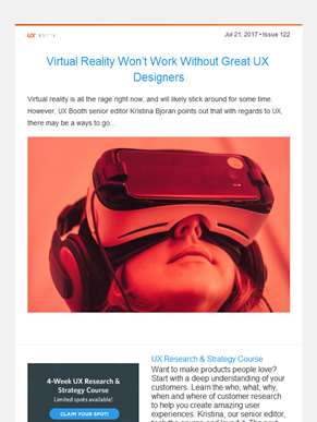 ??  UX Booth Weekly, Issue #122: Virtual Reality Won't Work Without Great UX Designers