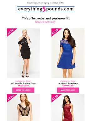 Yep, £2.50 dresses ! This offer rocks and you know it! See today's mind-blowing £2.50 picks ??