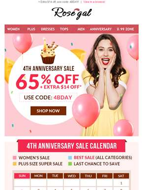 4th Anniversary Deals, up to 65% off