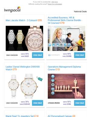 Deals for you: Marc Jacobs Watch £99 | Business, HR & Professional Skills Courses £79 | Daniel Welli