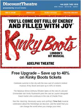 Kinky Boots | Save up to 40% with a free seat upgrade