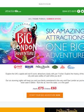 Explore the UK's capital! 1 Ticket - 6 Iconic Attractions : Coca Cola London Eye, SEA LIFE London, S