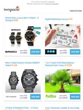 Deals for you: Breed Luxury Men's Watch £99 | Digital Marketing Course £19 | Emporio Armani Watch £1