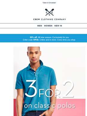 3 for 2 polos. Find your favourite.