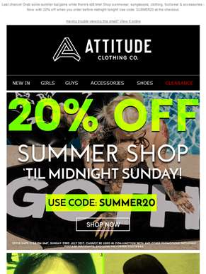 ? 20% OFF Everything in our Summer Shop - ENDS Midnight  ?