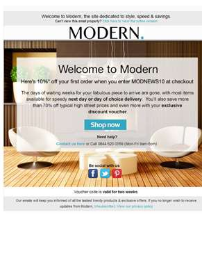Welcome To Modern - Get 10% Off Your First Order, Discount Code Inside!