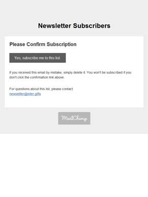 Newsletter Subscribers: Please Confirm Subscription