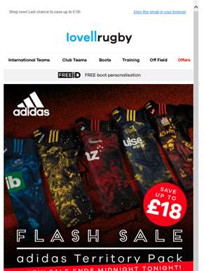 ? Hurry! adidas Territory Pack FLASH SALE ends midnight tonight! ?