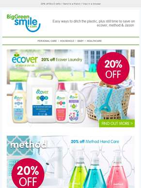 Eco alternatives to plastic household items, plus still time to save 20% on ecover
