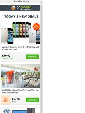 Flash Sale! iPhone 5, 5c, 5s from £70 | Dual Cyclone Vacuum £27