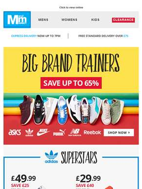 Big brand trainers up to 65% off