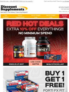 Red Hot Code - No Minimum Spend