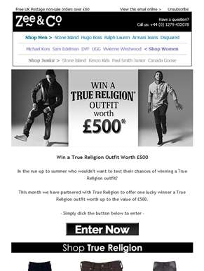 Win a True Religion Outfit worth £500!