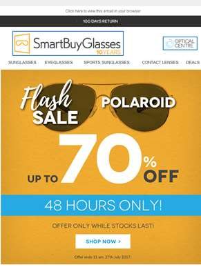 [48 hours only] 70% off Polaroid Eyewear FLASH SALE ??