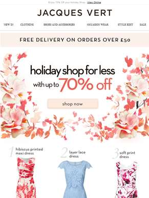 Enjoy 70% Off your Holiday Shop
