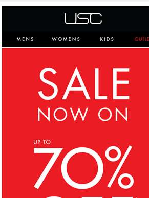 SALE NOW ON! Up to 70% OFF!!