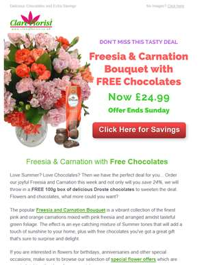 Enjoy Free Chocolates and 24% Off the Freesia & Carnation Bouquet
