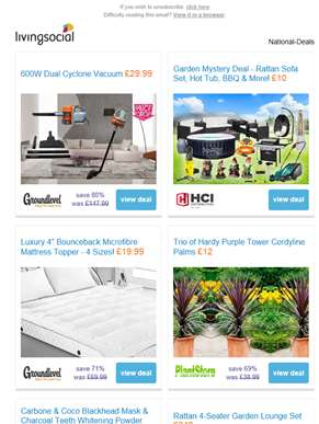 Deals for you: 600W Dual Cyclone Vacuum £26 | Garden Mystery Deal £10 | 4-Inch Microfibre Mattress T
