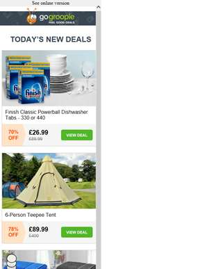 440 Finish Powerball Tablets from £26.99 | Teepee Tent for 6 People £89.99 | Egyptian Cotton Bath Sh