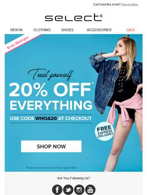 URGENT! You've got 20% off everything + Free EXPRESS delivery
