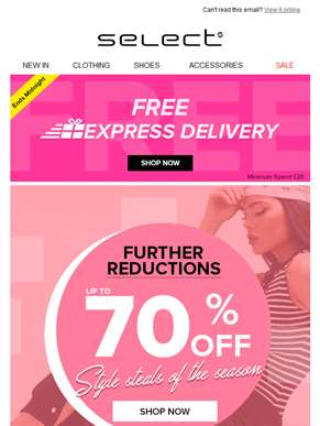 Up to 70% off and express delivery! Ending soon…