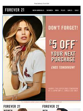 Ends Tomorrow! £5 Off Your Next Purchase
