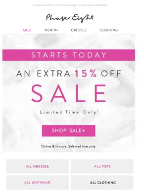 Starts today: An EXTRA 15% off Sale | Now Online & Instore