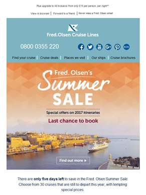 Last chance to save in Fred. Olsen's Summer Sale – Ends this Monday