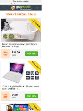 Clearance Event NOW ON! Memory Foam Mattress NOW £34 | MacBook £139 | Android TV Box £16.99