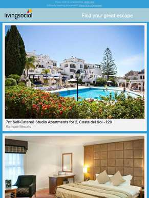 7nt Costa Del Sol Apartments | 4* Cotswolds, Dinner & Wine for 2 | 4* Belfry & Cadbury World for 2 |