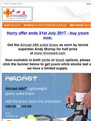 Hurry offer ends 31 July -50% off A60 ankle brace