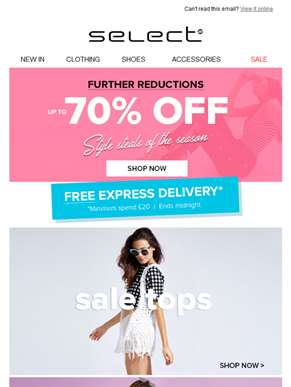 70 reasons to shop! & Free express delivery