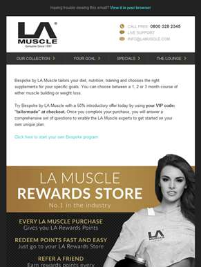 50% off introductory offer on Bespoke, tailor-made diet, training & supplementation by LA Muscle