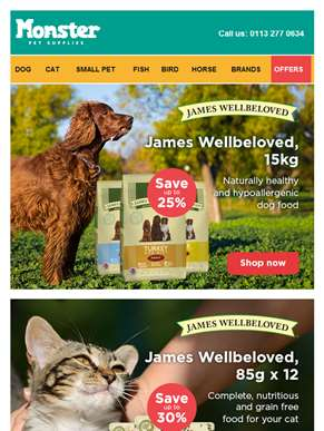 Wholesome, delicious and naturally healthy food from James Wellbeloved to help your pet eat better a