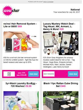 no!no! Hair Removal £69  | Luxury Mystery Watch Deal £20 | Laundry EcoEgg £9.99 | 11pc Rattan Furnit