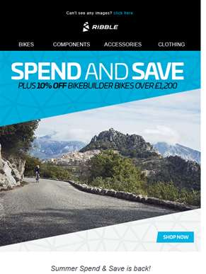 SPEND & SAVE + 10% OFF BIKES