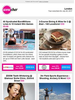 60 EuroMillions Lines & 'Instants' £9.99 | Zizzi Dining & Wine for 2 £30 | 1hr ZOOM Teeth Whitening