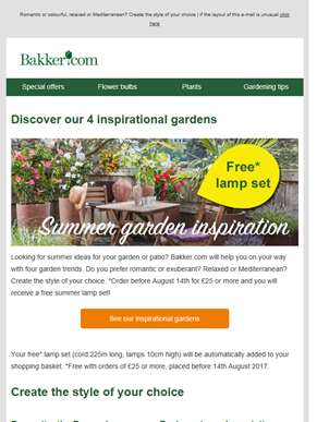 Discover our inspirational gardens | With free lamp set