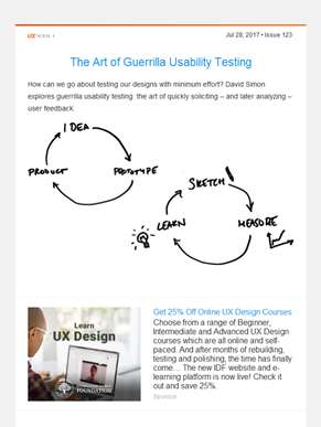 ??  UX Booth Weekly, Issue #123: The Art of Guerrilla Usability Testing